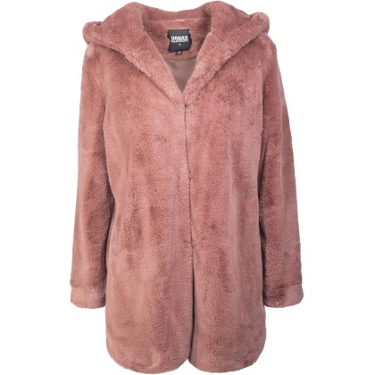 Γυναικείο παλτό με κουκούλα Τeddy Urban Classics TB2375 Dark Ros