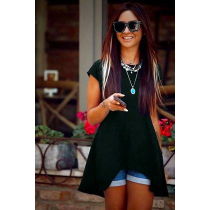 Μαύρη ασύμμετρη μπλούζα