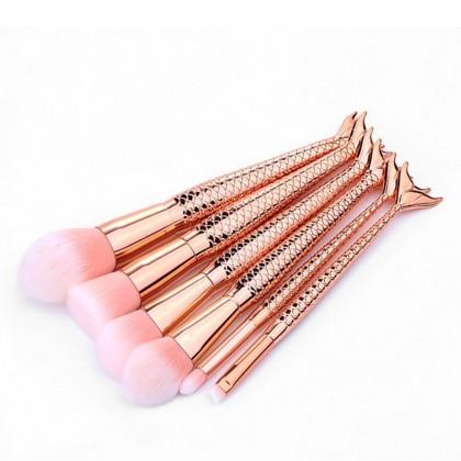 6 Πινέλα Μακιγιάζ με Λαβή Ουρά Γοργόνας Beautyware (10770) Ροζ Χ