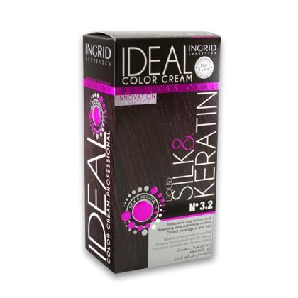 Ingrid Ideal Μόνιμη Κρέμα Βαφή Μαλλιών (10450) No 3.2