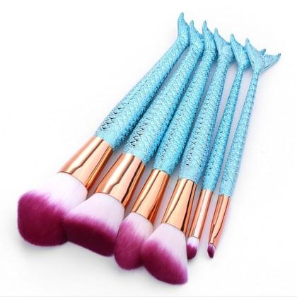 6 Πινέλα Μακιγιάζ με Λαβή Ουρά Γοργόνας Beautyware (10770) Μπλε