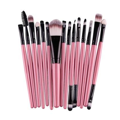15 Πινέλα Μακιγιάζ σε διάφορα χρώματα MAANGE (10688) Ροζ + Μαύρο