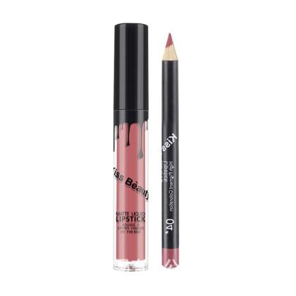 Kiss Beauty Σετ 2 τεμαχίων Matte Lip Gloss και Μολύβι Χειλιών (1