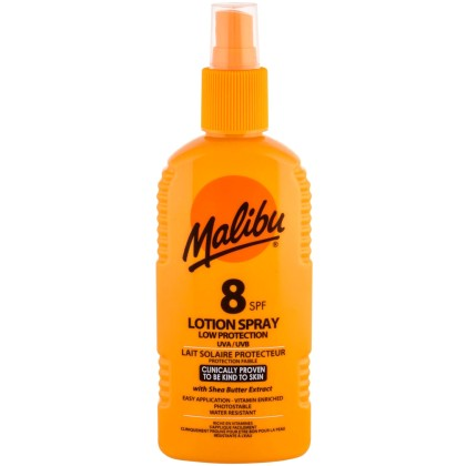Malibu Lotion Spray SPF8 Sun Body Lotion 200ml (Waterproof)