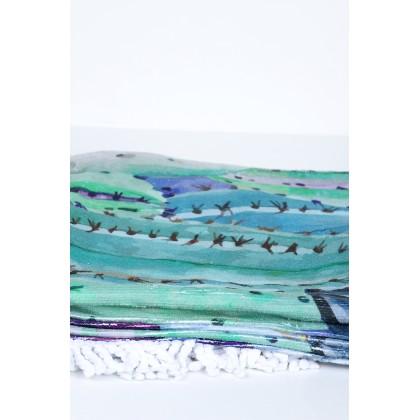Στρογγυλή πετσέτα θαλάσσης με κάκτους σε τσάντα 154cm*112cm