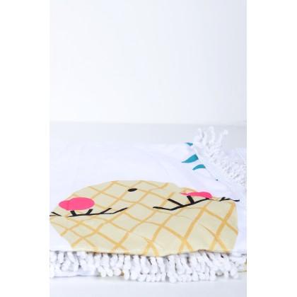 Πετσέτα θαλάσσης με τύπωμα ανανά σε τσάντα 154cm*112cm