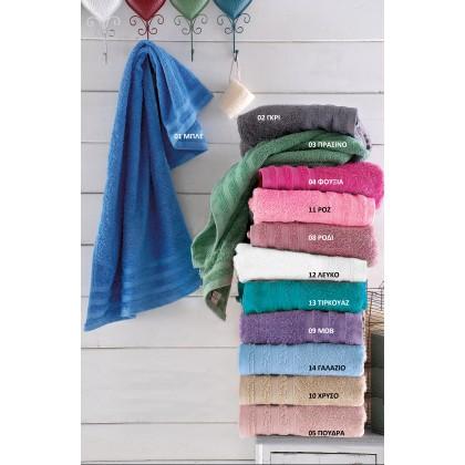 Πετσέτα προσώπου (50Χ90) LAGOON 12 ΛΕΥΚΟ, RYTHMOS HOME