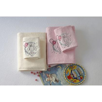 Σετ βρεφικές πετσέτες 2 τεμ. MOON PINK, MELINEN
