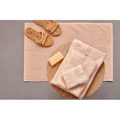 Σετ πετσέτες 4 τεμ. + πατάκι μπάνιου ROD BEIGE, PALAMAIKI