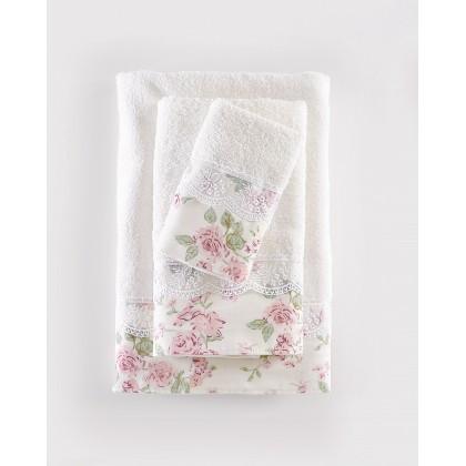 Σετ πετσέτες 3 τεμ. με δαντέλα AMELIE IVORY, RYTHMOS HOME
