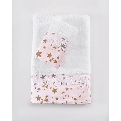 Σετ πετσέτες 3 τεμ. με δαντέλα ESTELLA PINK, RYTHMOS HOME