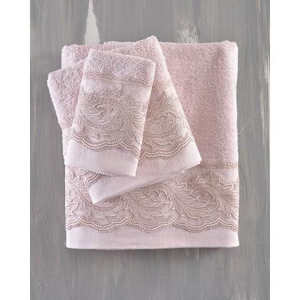Σετ πετσέτες νυφικές 3 τεμ. ANIKA PINK, RYTHMOS HOME