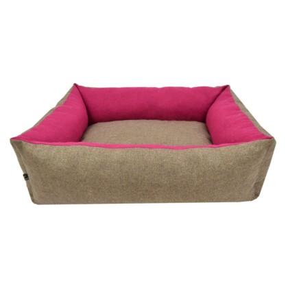 Καναπές Πουφ Ποπλίνα Μπεζ - Φούξια No2: 40x45x19 cm