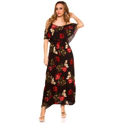 Φόρεμα maxi summer floral black