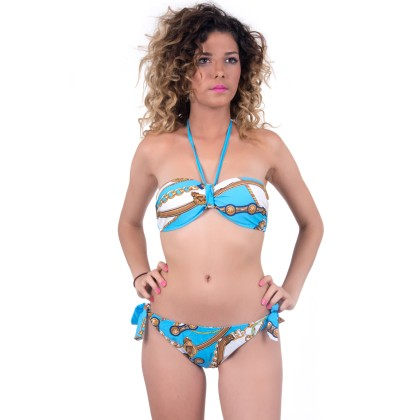 Μπλε - άσπρο γυναικείο μαγιό με σχέδια summer 2016