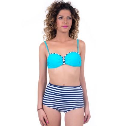 Τυρκουάζ γυναικείο μαγιό με άσπρες - μπλε ρίγες summer 2016