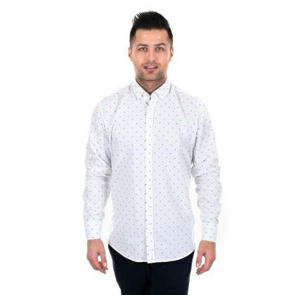 Zen Zen  Λευκό ανδρικό πουκάμισο με μπλε-πράσινο πουά