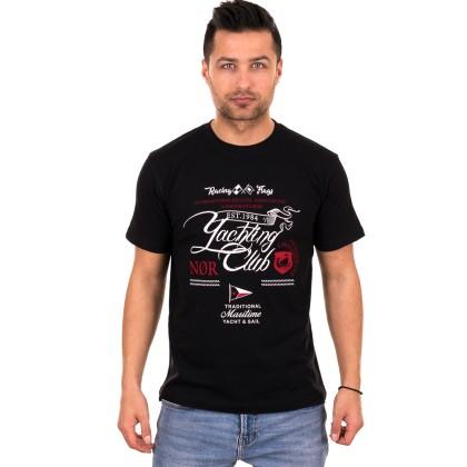 Μαύρο ανδρικό T-shirt με λευκό-κόκκινο τύπωμα
