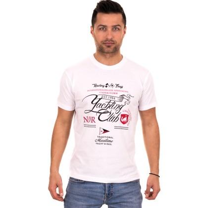 Λευκό ανδρικό T-shirt με μαύρο-κόκκινο τύπωμα