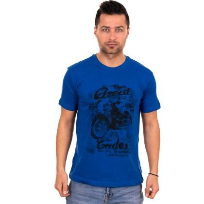 Μπλε ανδρικό T-shirt με μαύρο τύπωμα