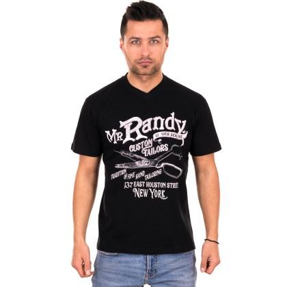 Μαύρο ανδρικό T-shirt με λευκό-γκρι τύπωμα