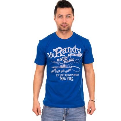 Μπλε ανδρικό T-shirt με λευκό-γκρι τύπωμα