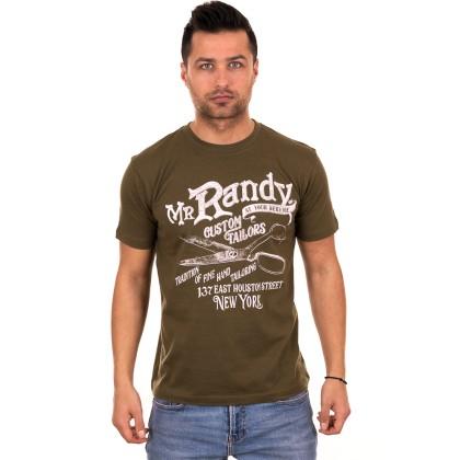 Χακί ανδρικό T-shirt με λευκό τύπωμα