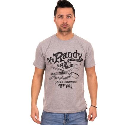 Γκρι ανδρικό T-shirt με μαύρο τύπωμα