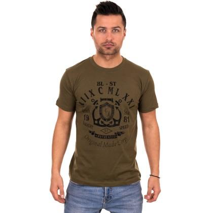 Χακί ανδρικό T-shirt με μαύρο τύπωμα