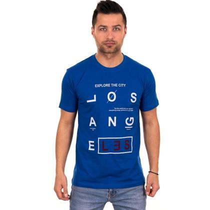 Μπλε ανδρικό T-shirt με λευκό-κόκκινο τύπωμα