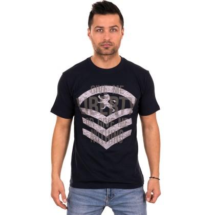 Dark blue ανδρικό T-shirt με γκρι τύπωμα