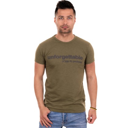 MBLK χακί ανδρικό T-shirt με τύπωμα