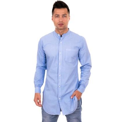 King Brothers Γαλάζιο ανδρικό πουκάμισο σε μακριά γραμμή