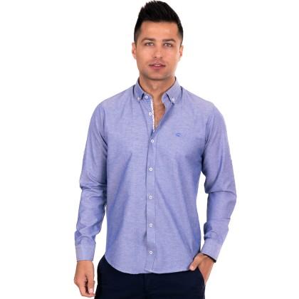 Zen Zen Μπλε-μωβ ανδρικό πουκάμισο με λευκό σιρίτι
