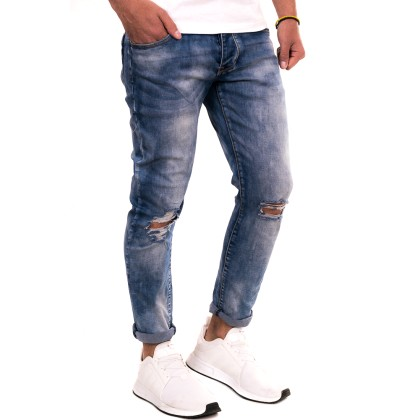Justing Μπλε ανδρικό jean παντελόνι με ξέβαμα και σκίσιμο