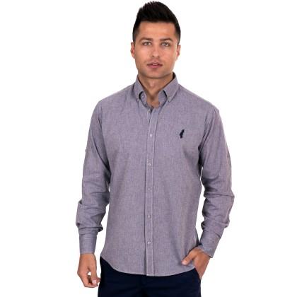 Al Franco γκρι-μωβ ανδρικό πουκάμισο