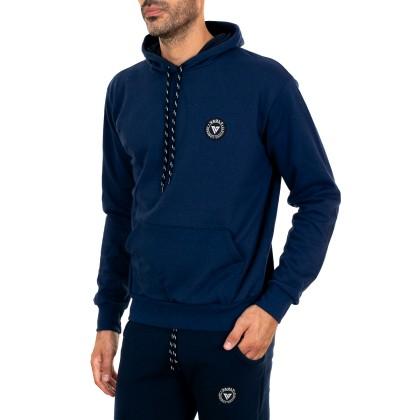 Μπλε ανδρική φούτερ μπλούζα με κουκούλα